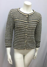 CHANEL CROCHET JACKET BUTTONS WITH CHAIN METALLIC 06P FABULOUS! SIZE 38 SMALL