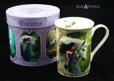 "Anne Stokes Bone China Mug Cup: ""Enchanted Pool"" White Unicorn with Maiden"