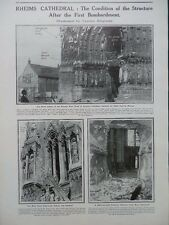 1914 RHEIMS CATHEDRAL AFTER FIRST BOMBARDMENT; GERMAN VIEW OF THE WAR WW1 WWI