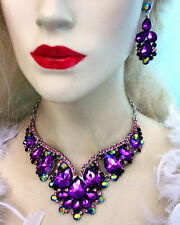 Rhinestone Necklace Earring Set Purple Bridal Crystal Jewery Pageant Drag Queen