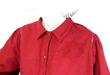 NWT Gudrun Sjoden Womens Red Cotton Shirt Top Embroidery size XL