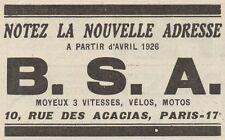Y7715 B.S.A. - Motos - Vélos - Pubblicità d'epoca - 1926 Old advertising