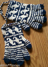 AFGHAN KNITTED  GLOVES FAIRTRADE UPCYCLED RECYCLED HIPPY BOHO NAVY 2109J
