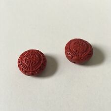 2pcs 20mm x 18mm Red Carved Wood/Wooden Decorative Oriental Detail Heart Beads