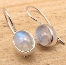 925 Silver Plated Blue Fired RAINBOW MOONSTONE Earrings High Quality ART Jewelry