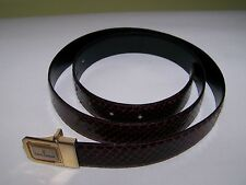 Mens TRUSSARDI Reptile SNAKE SKIN wine red leather BELT Made in ITALY 42 inches