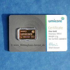 Goldbarren 5g 5 Gramm Gold 99,99 Umicore 5 grams gold bar neues Design Blister