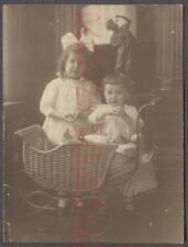 Vintage Photo Cute Girls Baby Doll Toys & Wicker Carriage Unusual Statue 665799