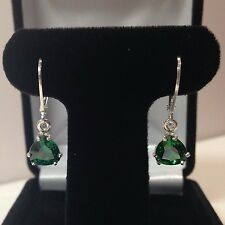 BEAUTIFUL 3.6cts Trillion Cut Emerald Sterling Silver Dangle Leverback Earrings