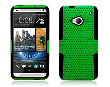 HTC One (M7) Mesh Hybrid Case Skin Cover Dual Layer Accessory Green Black