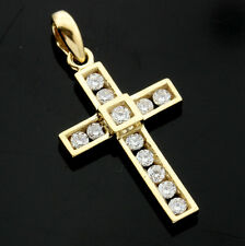 9ct Yellow Gold Cubic Zirconia Cross Pendant - Boxed