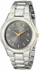 Seiko $275 Solar Grey Dial Two-Tone Stainless Steel Men's Watch SNE166 SD