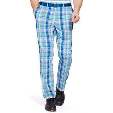 NWT $125 RLX Ralph Lauren Blue Multi Golf Greens Madras Pant Diplomat Size 34X34