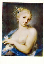 1960 Russian card SUMMER (semi nude woman) by Italian artist Rosalba Carriera