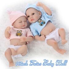 10inch Preemie Bebes Reborn Twin Boy And Girl Doll Soft Silicone Mini Dolls Gift