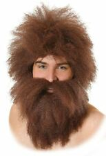 NEW MENS CAVE MAN CAVEMAN MR TWIT BROWN WIG AND BEARD SET FANCY DRESS COSTUME