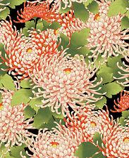 Chrysanthemums:  Black/Gold Metallic Asian Japanese Quilt Fabric -1/2 Yd.
