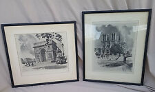 2 Signed WWII Paris France Etching Framed Art Madsen 1942 Rue Saint Honore VTG