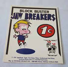 Gumball Machine - Display Card Block Buster Jaw Breakers 1 cent - Old Pat & Lyn