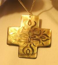 Lovely Fire of The Spirit Mother of Pearl Squared Goldtne Cross Pendant Necklace
