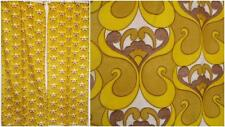 Vintage 70's Yellow Groovy Psychedelic Pair Curtains Mid-Century Home Retro Thin