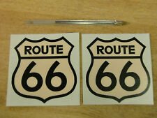 ROUTE 66 - car stickers  - America Mother Road USA -  2x 90mm decals (cream)