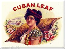 Cuban Leaf Beautiful Woman Vintage Smoke Cigar Box Crate Label Art Poster Print