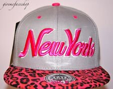 New York Leopard Snapback caps, NY dope flat peak baseball fitted hats grey/pink