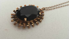 9CT 9K ROSE GOLD AND BROWN QUARTZ PENDANT AND CHAIN ENGLISH MANUFACTURE