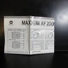 Minolta Maxxum AF Zoom Xi Lenses Guide 28-105mm 35-200mm 100-300mm 80-200mm