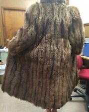Vintage Alexandre of New York TANUKI FUR Full Length Coat S BROWN/RED pre-owned