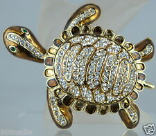 VINTAGE GOLD TONE RHINESTONES ENAMEL LARGE TURTLE BROOCH/PIN JEWELRY