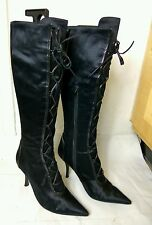 Nine West Black Textile Zip Lace up Knee High Stiletto Heel Boots Size UK 6 39