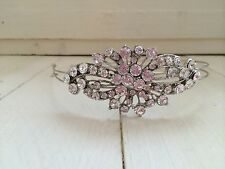 Bridal Diamante Crystal Silver Side Tiara Headband Hairband Wedding Bride