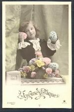 NM041 Easter PAQUES FILLETTE EDWARDIAN BOY DECORATED EGGS PHOTO d'ART STEBBING