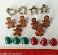 Gingerbread people silver heart stars lollies novelty button by Dress It Up 2472