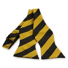 Black and Gold Diagonal Striped Self-Tie Bow Tie: In Team Or School Colors