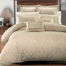 7PC King Cal King Sara Duvet Cover Set Luxury Beige By Royal Hotel Collection
