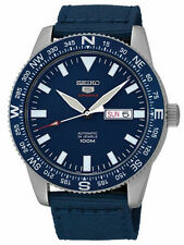 Seiko 5 Sports SRP665 Men's Fabric Band Compass Bezel Blue Dial Automatic Watch