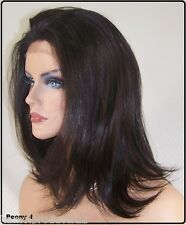 USA Dark Brown # 4 Straight Lace Front Wig Heat Iron Safe OK Resistant Peo