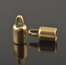 15Pcs Golden Charms Bead End Caps Stopper Fit 5mm Cord Leather Crafts Necklace