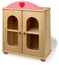 LEGNO MASSELLO Doll's GUARDAROBA ARMADIO CON STAFFE rosa e legno naturale design