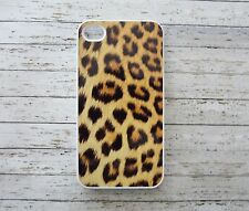 iPhone 4 / 4s LEOPARD ANIMAL CAT PRINT PATTERN CUSTOM HARD white COVER CASE