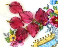 #490 Vintage Leaf Drops Dangles Leaves Glass Czech Pressed Pink Rose NOS