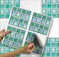 "4 Tile Transfer Stickers 6"" x 6"" AQUA GLASS for Kitchen & Bathroom tiles"