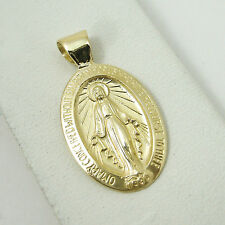 Solid 14K Yellow Gold Miraculous Medal Virgin Mary Pendant, 2.0 grams, Catholic