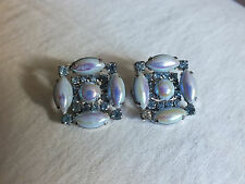 Stunning Collectible Clip Earrings Irridescent Blue Cabochons Rhinestones WOW