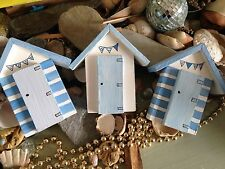 Beach Huts blue and white  seaside Wooden ornaments  set of 3
