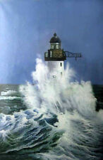 "Wonderful oil painting seascape lighthouse with big ocean waves canvas 24""x36"""