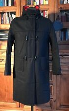 Vintage Wool Duffle Coat Black Colour Mens Hood Red Lining Adult Child Small